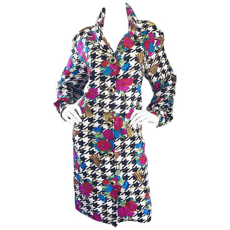 Amazing 1990s Black and White Houndstooth Size 12 Flower 90s Silk Shirt Dress | From a collection of rare vintage cocktail-dresses at https://www.1stdibs.com/fashion/clothing/day-dresses/cocktail-dresses/