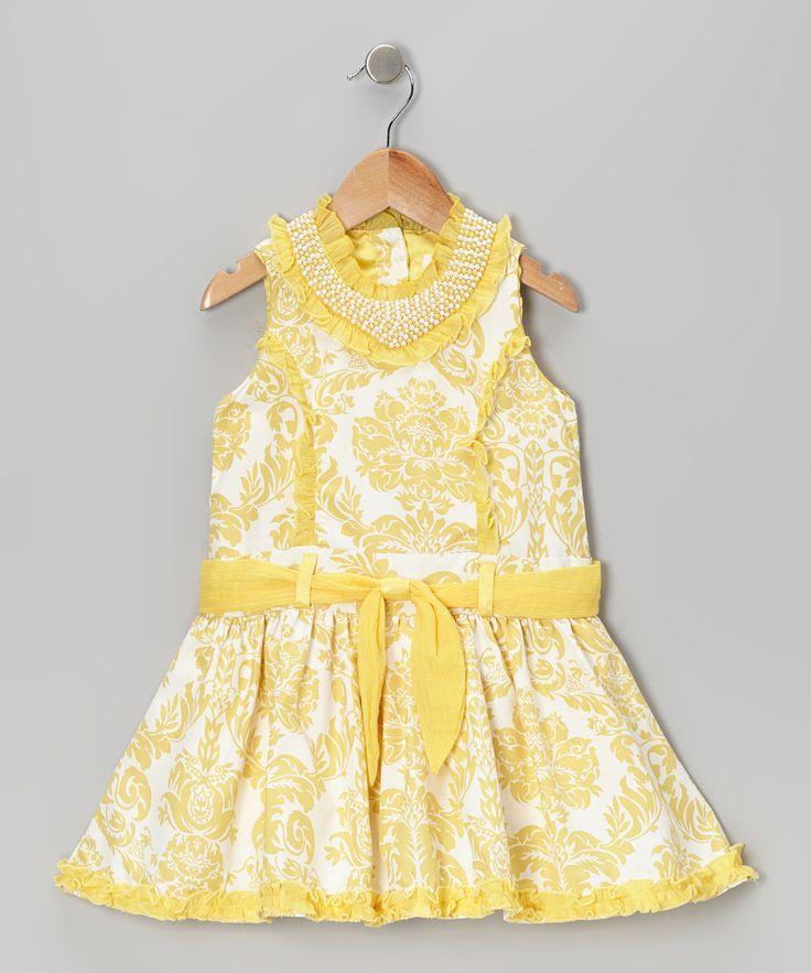Yellow Damask Princess Dress for Toddler & Girls.