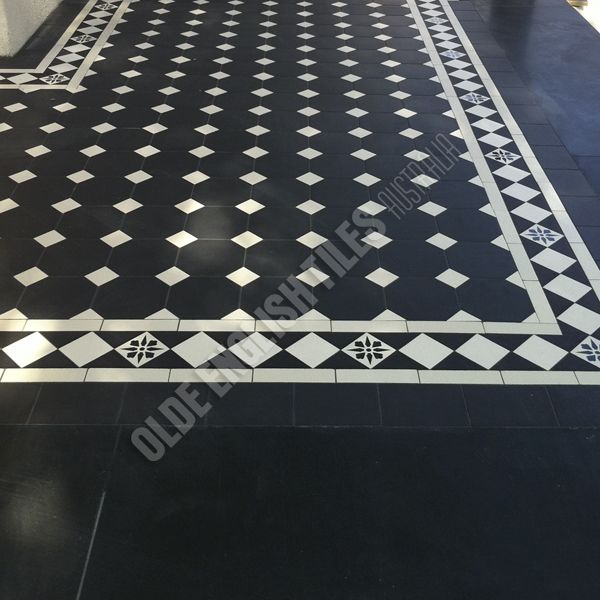 Olde English Tiles Australia - Olde english III pattern with Norwood border with Encaustics