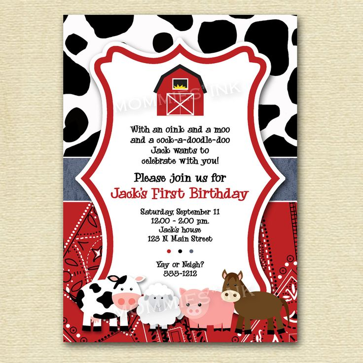 Farm Invitation, Farm Animals Birthday Party Invite, Farm