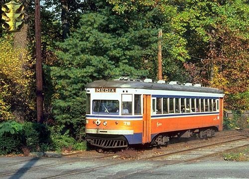 """Philadelphia Suburban Transportation Company Red Arrow Line - The last traditional (hand-controlled) streetcars in service in the Philadelphia area were these Brill """"Master Unit"""" suburban cars built in 1932-33. They were capable of seventy miles per hour, and lasted into the early 1980's."""