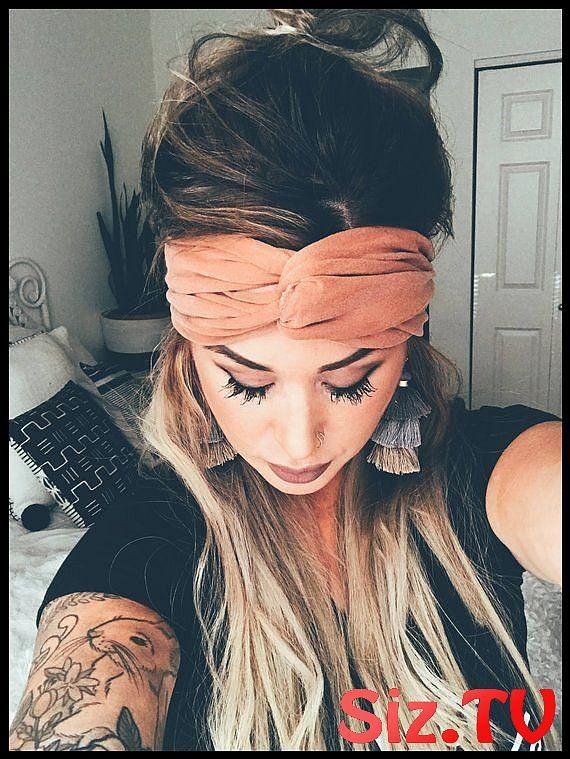 Cognac Scrunch Headband Extra Wide Headband Jersey Headband Turban Jersey Headband Boho Headband Boho Head Wrap Women Teen Girls Cognac Scrunch Headba...