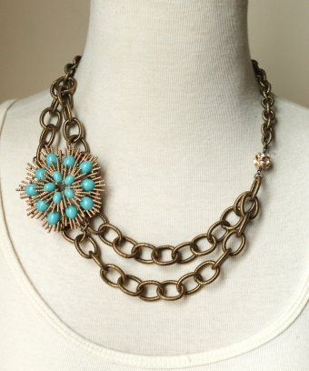"""Antique gold etched chain, vintage brooch and rhinestone beads. Length: 18""""  $139"""