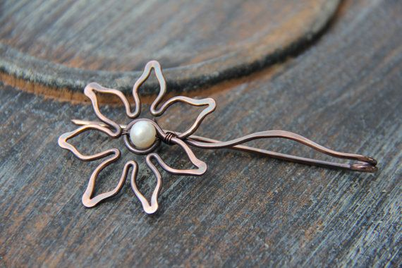 "Shawl pin, scarf pin, brooch, cardigan clasp, copper shawl pin ""Sunflower"", floral, woodland shawl pin, pearl and copper,"