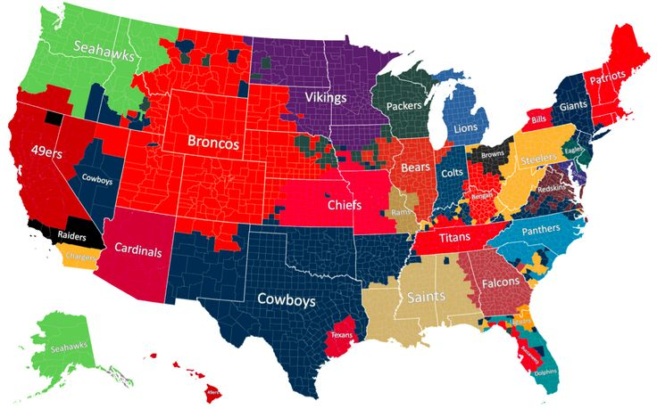 """2014 NFL American Football Fandom Map, to mark the beginning of the NFL season. The map uses Facebook """"likes"""" to determine the most popular NFL team in every U.S. county. The result is """"one of the most comprehensive samples of sports fanship ever collected."""""""