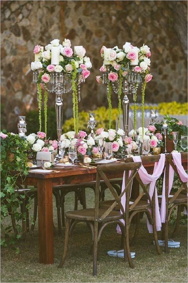 romantic rustic rose wedding reception ideas