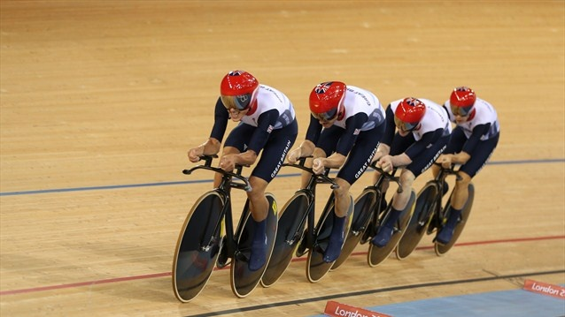 Team GB in the men's Team Pursuit final. Edward Clancy, Geraint Thomas, Steven Burke and Peter Kennaugh of Great Britain compete in the Men's Team Pursuit Track Cycling final.