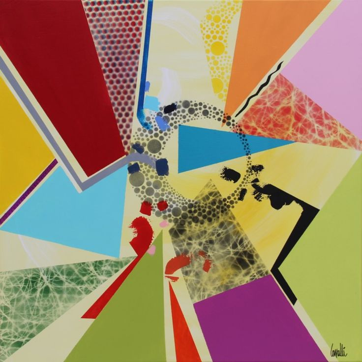 Géocolored - Peinture,  80x80 cm ©2016 par Pascal Cavalli -                                        Art abstrait, Art abstrait