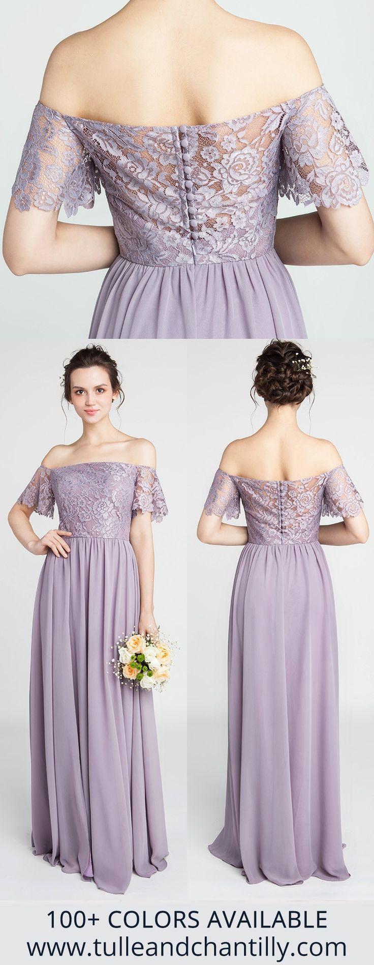Gorgeous Lace Off-the-Shoulder Mauve Purple Bridesmaid Dresses with Chiffon Skirt