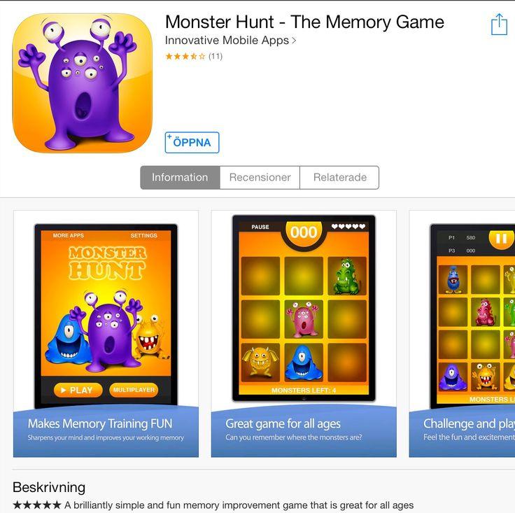 Träna minnet med den här appen. Länk till ITunes: https://itunes.apple.com/se/app/monster-hunt-the-memory-game/id510490133?mt=8