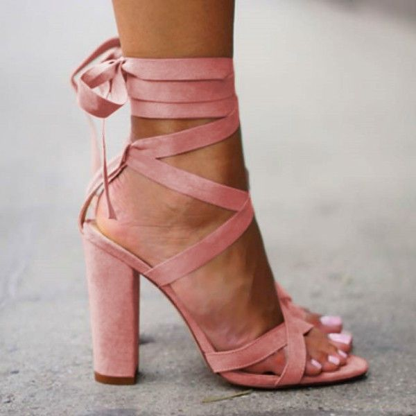 Pink Strappy Sandals Lace-up Suede