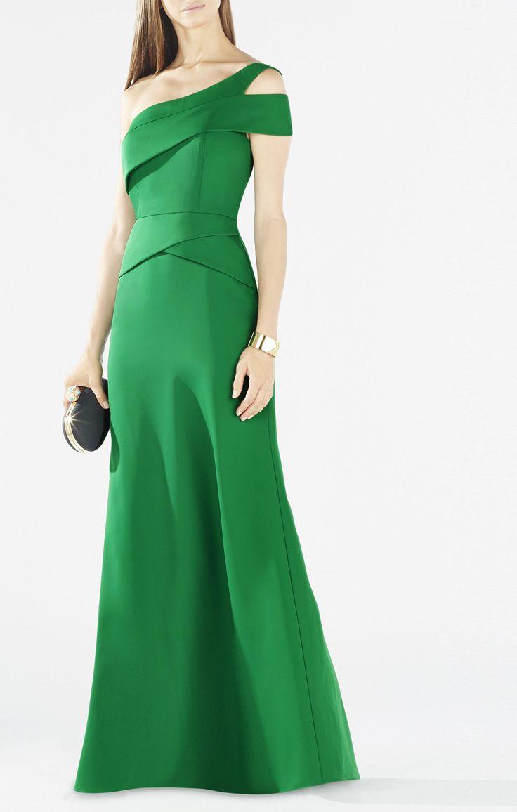 BCBG Max Azria Annely One-Shoulder Peplum Gown in Green