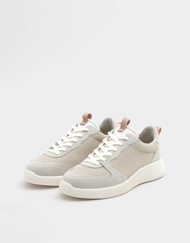 Grey Mesh Sneakers Pull Bear Shoes Sneakers Shoes Sneakers