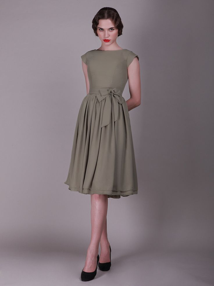 Cap Sleeved Vintage Bridesmaid Dress with Faux Buttons | Plus and Petite