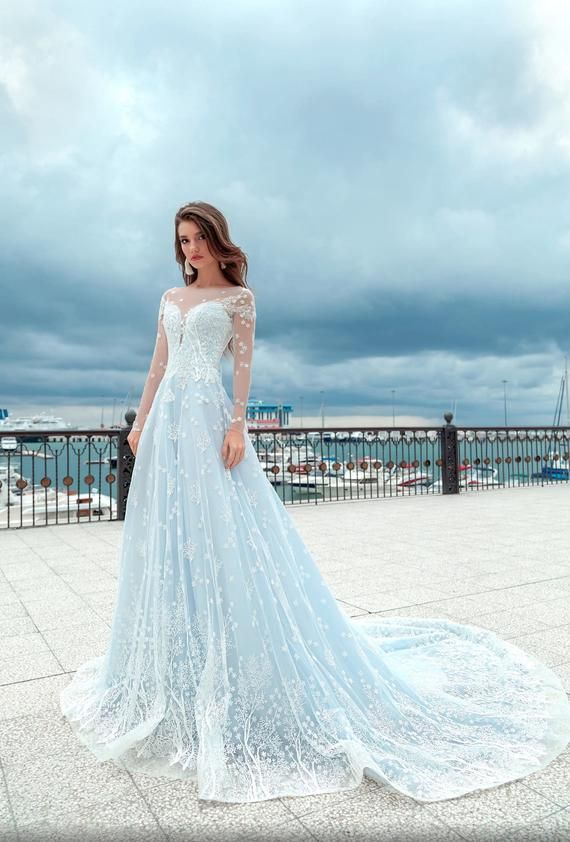 Big Sale Light Blue Color Wedding Dress Soft Wedding Dress Etsy In 2020 Blue Wedding Gowns Soft Wedding Dresses Colored Wedding Dresses