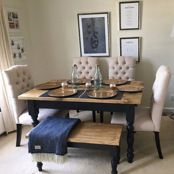 Rustic Farmhouse Dining Table Set With Benches Reclaimed Dining