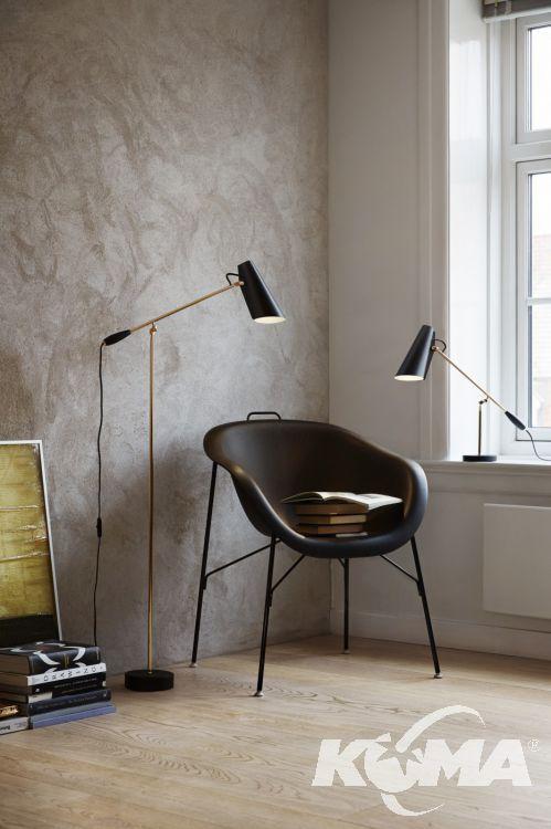 Birdy lampa podłogowa 1x60W E27 133cm czarny/mosiądz