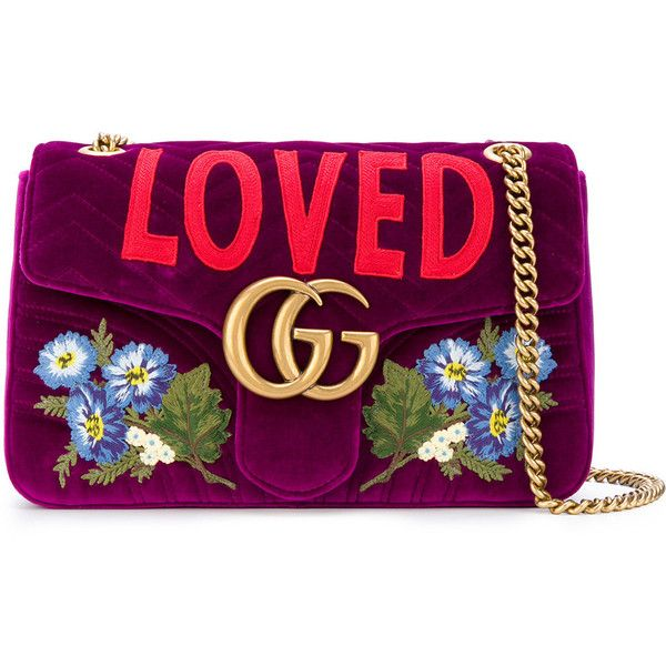 Gucci GG Marmont Loved bag ($2,470) ❤ liked on Polyvore featuring bags, handbags, purple handbags, floral handbags, gucci handbags, floral print handbags and purple purse