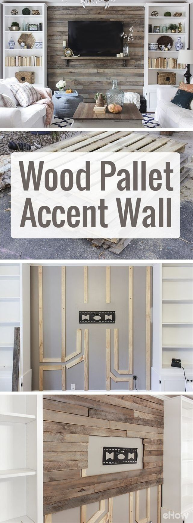 Drastically change the look and feel of your living room with a beautiful wood pallet accent wall.