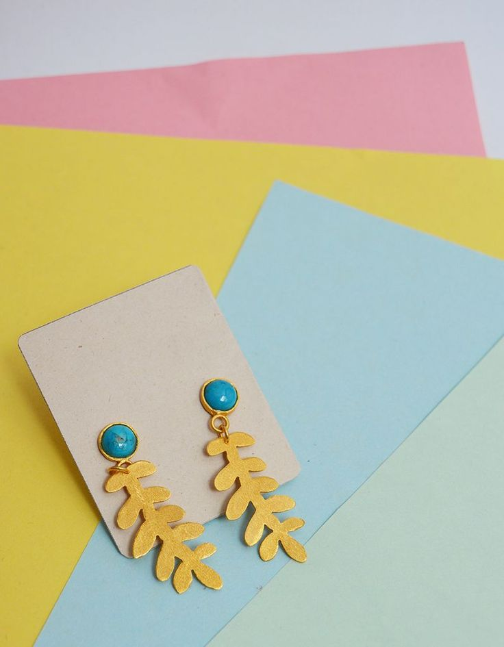 Earrings Turquoise leave Sustainable jewelry-Lecat