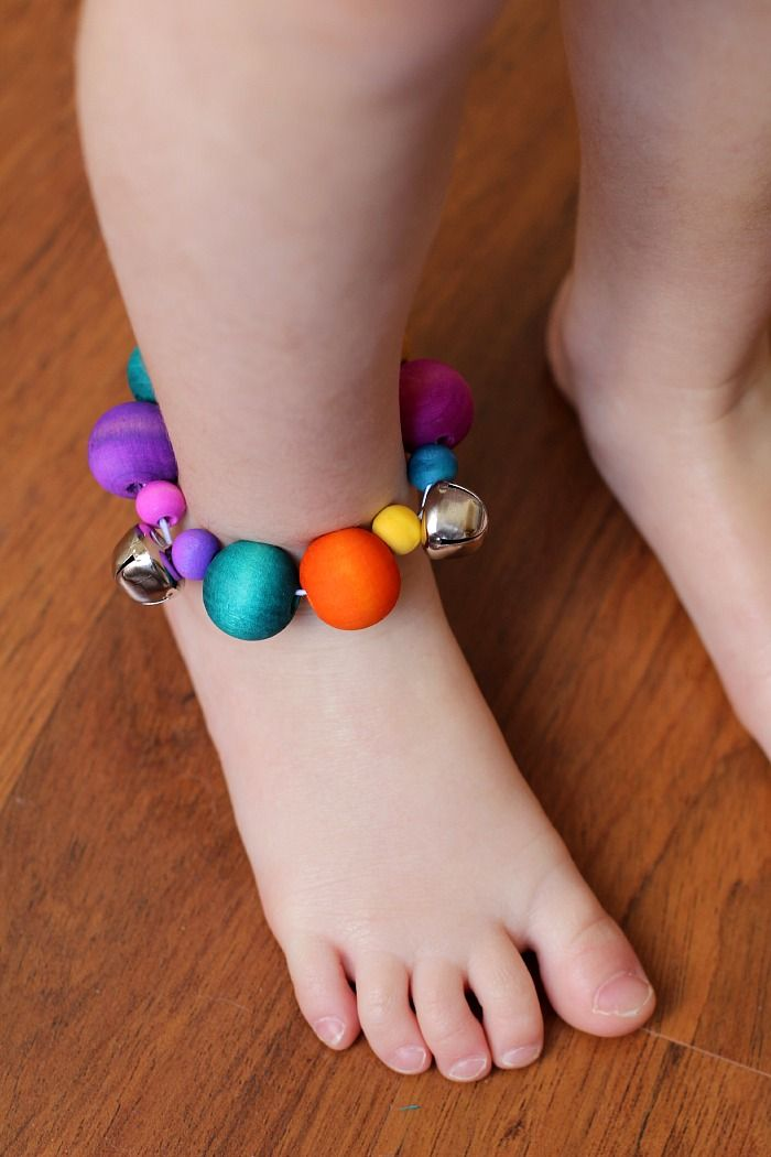Jingle Bell Ankle Bracelets with Dyed Wooden Beads