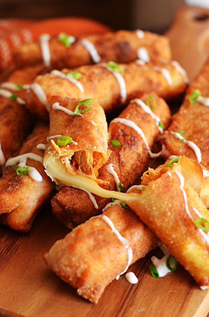 Buffalo Chicken Mozzarella Logs.  This mash-up of everybody's favorite appetizers (wings, mozzarella sticks, and egg rolls) hostthetoast.com