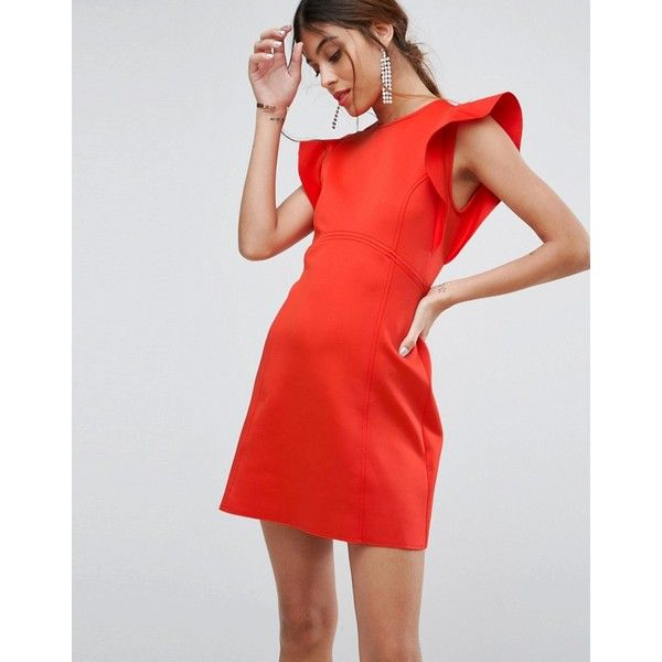 ASOS Mini Scuba Skater Dress With Frill Detail (765 ZAR) ❤ liked on Polyvore featuring dresses, red, ruffle prom dress, asos dresses, fit and flare party dress, red ruffle dress and red party dresses