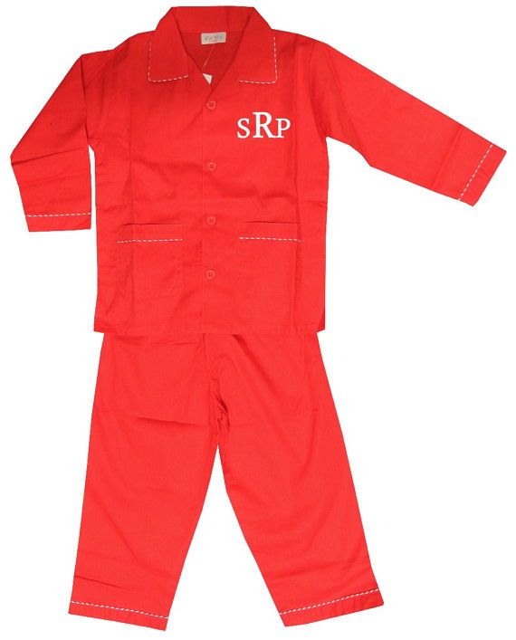 MONOGRAMMED CHRISTMAS PAJAMAS for Boys in Red by ChildrensCottage, $32.95