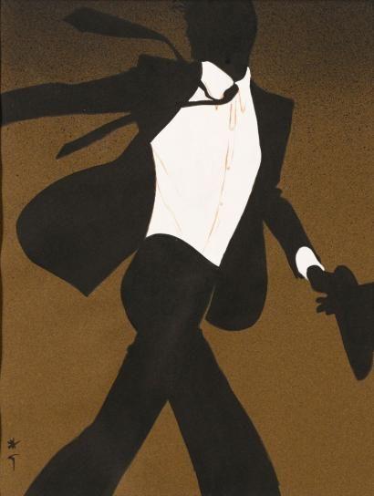 René GRUAU (1909-2004) Homme au chapeau et à la cravate, pour Christ