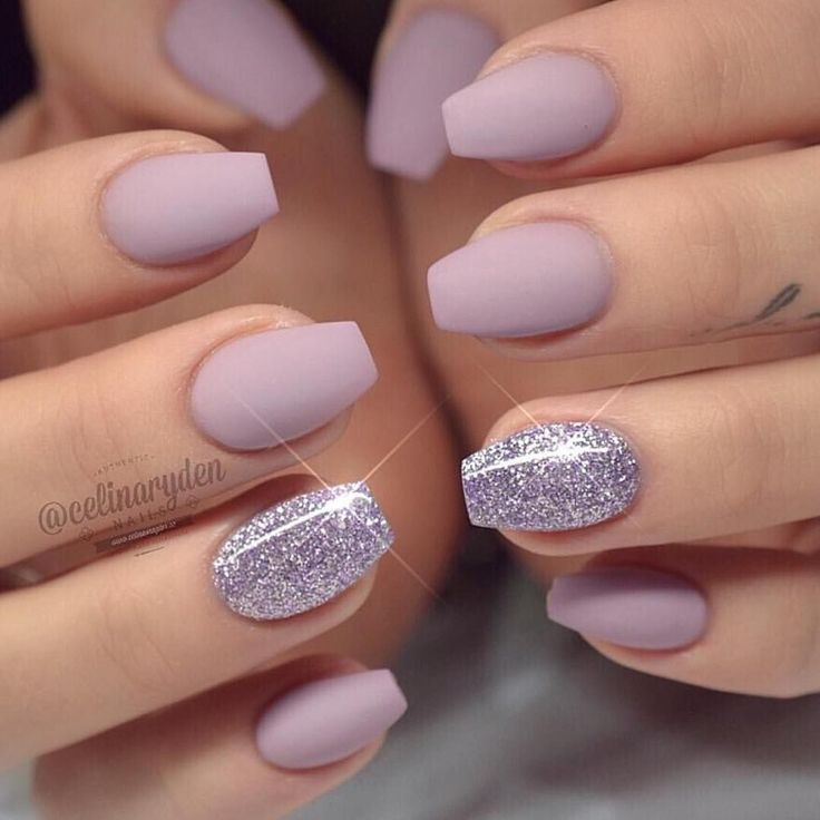 Purple Matte Glitter Accent Nail Short Coffin Nails Designs Coffin Nails Designs Fresh Nails Designs