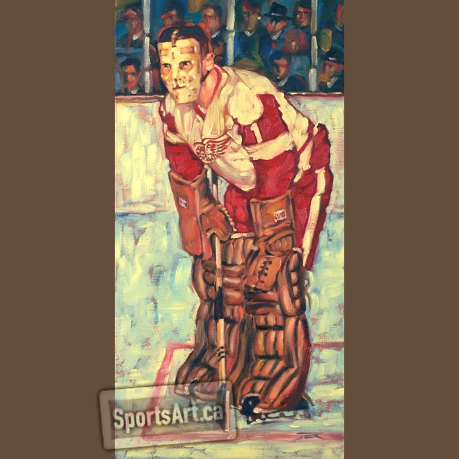 After his tragic death, Terry Sawchuk held the incredible NHL record of 103 career shutouts (for 39 years). In 2009, Martin Brodeur surpassed Terry's historic milestone. This original painting is in Terry Sawchuk Jr's home.