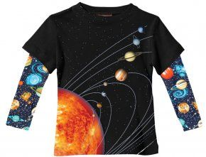 New City Threads Boys 2fer Solar System T Shirt In Black W