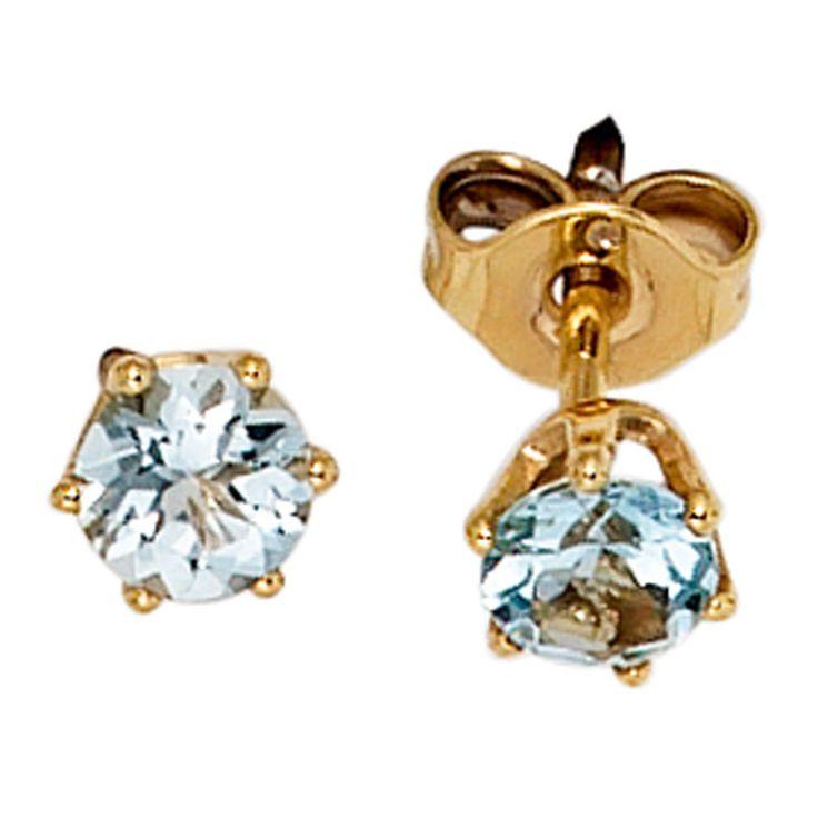 Ohrstecker rund 2 Aquamarine hellblau blau 585 Gold Gelbgold Ohrringe 39702 | Uhren & Schmuck, Echtschmuck, Ohrschmuck | eBay!