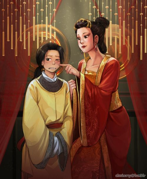 Yao with Wu Zetian - Coloured version of http://www.pinterest.com/pin/398076054535178773/ - Art by ctcsherry.tumblr.com