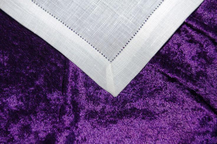 Close-up of corner of corporal; 100% linen; hemstitched; mitered corner; 8.3.17