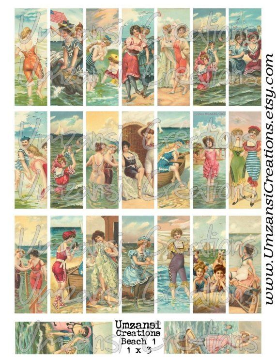 23 VINTAGE BEACH LADIES images for Microscope Slide Collage Sheet - Digital Download - Size 1x3 (No. 53)