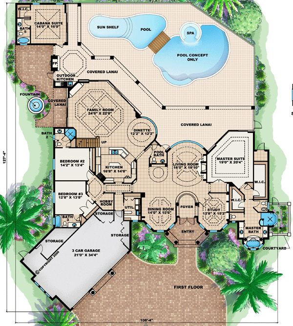 Florida mediterranean house plan 60464 level one house for Mediterranean mansion floor plans