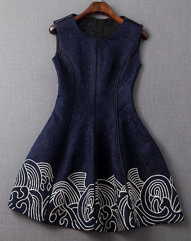 Embroidered Dress in Navy Blue