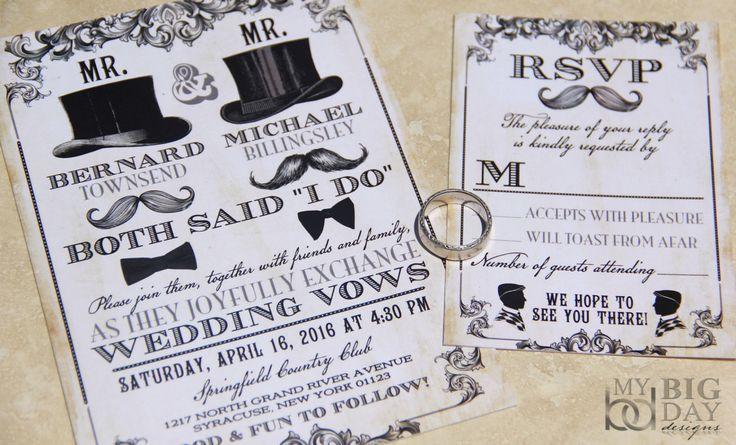 NEW! Mr & Mr Same Sex themed wedding invitation set, Mens Gay Wedding Invitations by mybigdaydesigns on Etsy