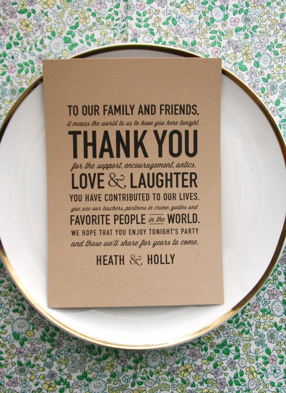 50 Wedding Acts of Kindness: #42 Include a thank you card at each guest's seat. (card by cheerup cherup)