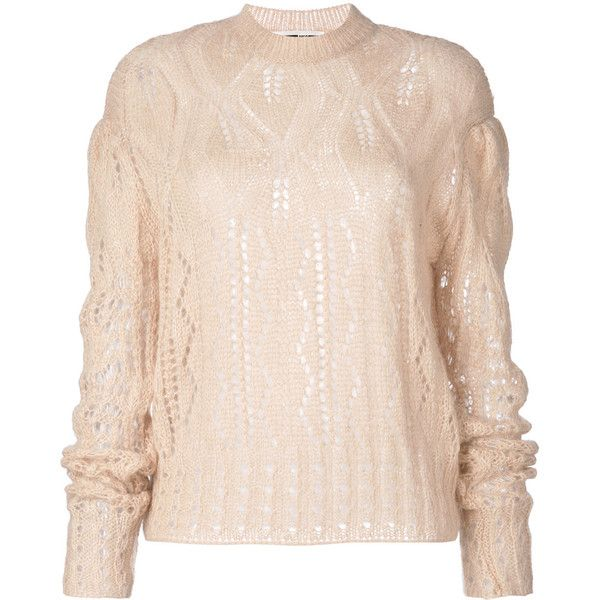 McQ Alexander McQueen knitted jumper (€270) ❤ liked on Polyvore featuring tops, sweaters, nude, ribbed sweater, pink top, jumper top, pink sweater and mcq by alexander mcqueen