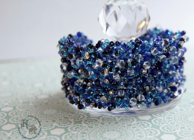 Fashionable Blue Handmade Beaded bracelet Prom Wedding Trendy Jewellery by HannaRudakovaBeads on Etsy