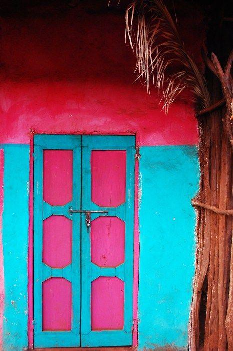Turquoise Door, Colors Combos, The Doors, Blue Doors, Colors Combinations, Hot Pink, Colors Doors, Pink Doors, Bright Colors