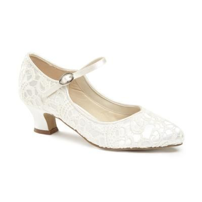 Paradox London Pink Vintage `Mermaid` Lace Mary-Jane shoes, Ivory from House of Fraser - Low heeled vintage 1920`s inspired Mary-Jane with pretty lace overlay. With
