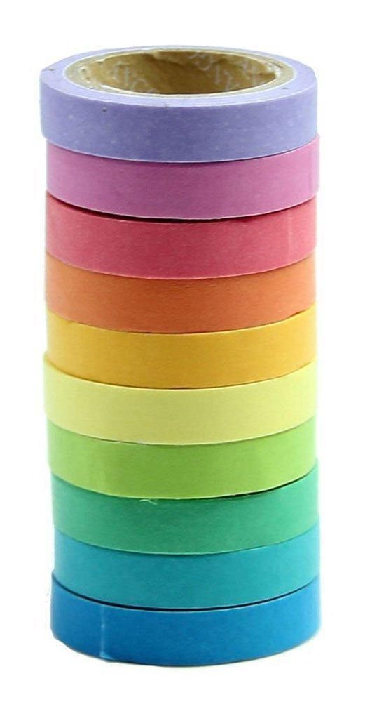 Adhesive Decorative Tape 10-Pack Sticky Paper Masking  Label Scrapbooking DIY #AdhesiveDecorativeTape