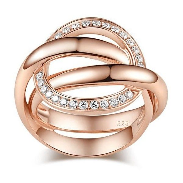 925 Sterling Silver Rose Gold Plated Magic Pattern Women's Ring (1.090.120 IDR) ❤ liked on Polyvore featuring jewelry, rings, accessories, sterling silver jewellery, sterling silver jewelry, rose gold plated ring, rose gold plated jewelry and sterling silver rings