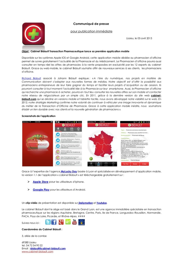 communiqué de #presse application mobile cabinet Bidault Transaction pharmaceutique #Android #Apple #IOS #Pharmacie