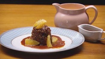 Sticky Date and Ginger Pudding with Ginger, Salty Caramel Sauce and Orange Creme Anglaise