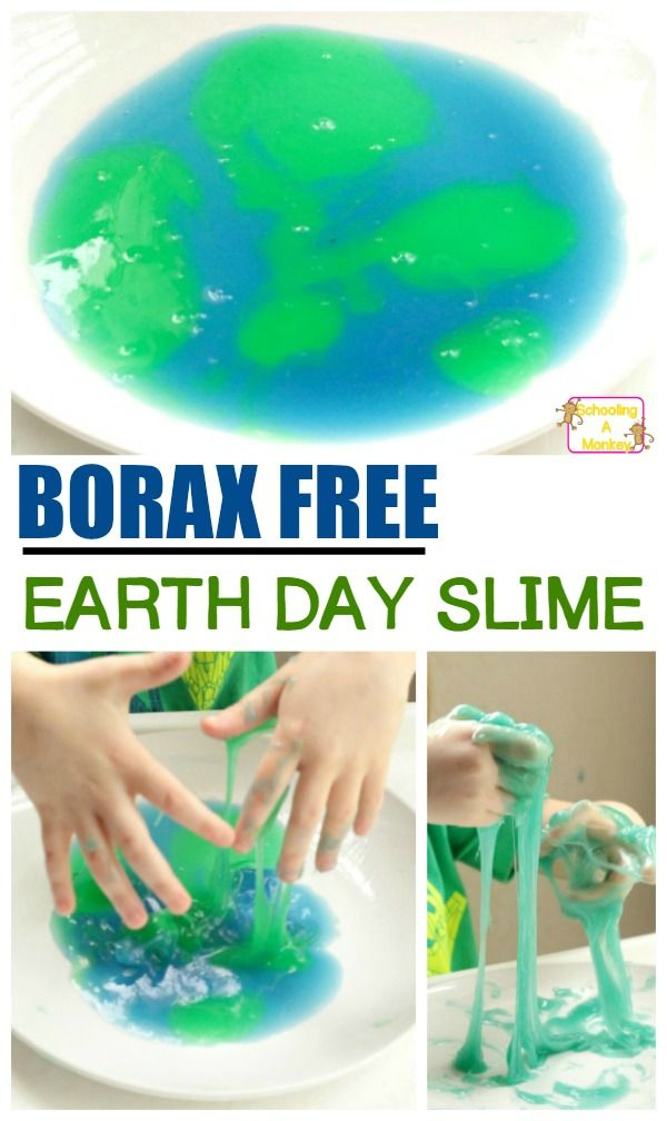 Make this super fun, kid safe baking soda slime in honor of Earth Day! Use other colors and this borax free slime can be used any time of year!
