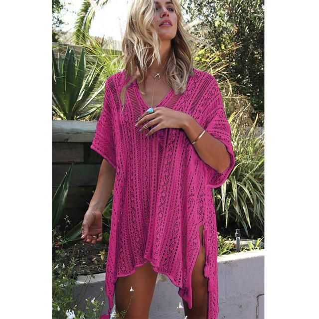 2019 New Beach Cover Up Bikini Crochet Knitted Tassel Tie Beachwear Summer Swimsuit Cover Up Sexy See-through Beach Dress